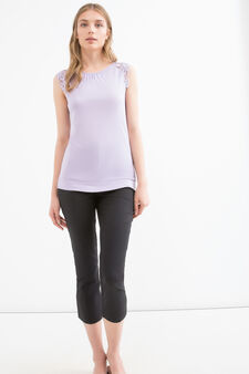 Viscose top with lace, Lilac, hi-res