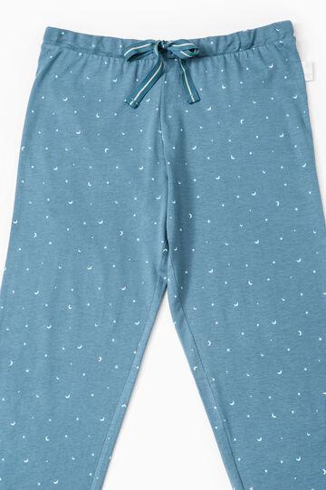 Printed cotton pyjama trousers, Blue, hi-res