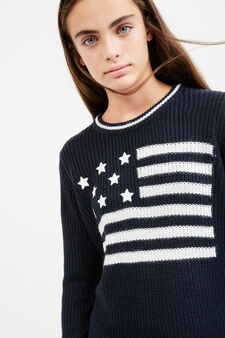 Teen knitted pullover with striped ribbing, Black, hi-res