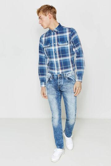 Jeans slim fit effetto used con baffature, Denim, hi-res
