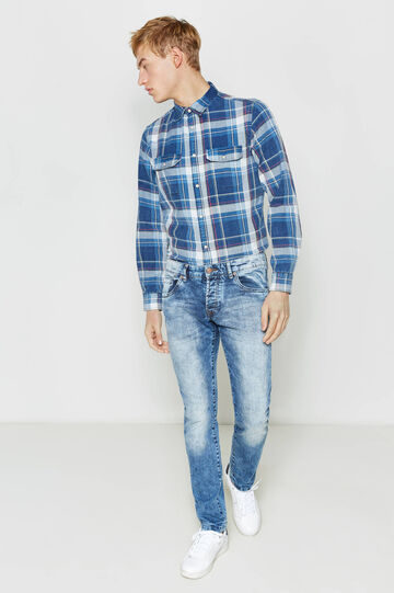 Slim-fit worn-effect jeans with whiskering, Denim, hi-res