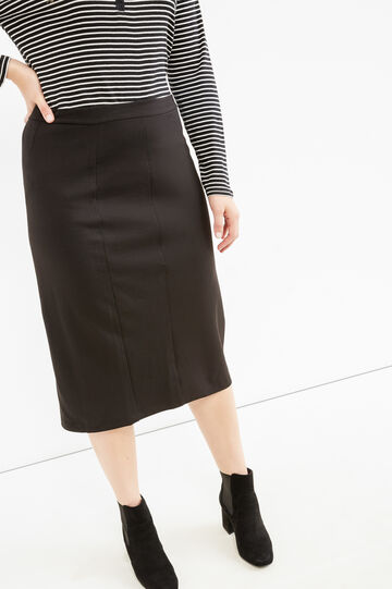 Curvy stretch skirt with slit, Black, hi-res