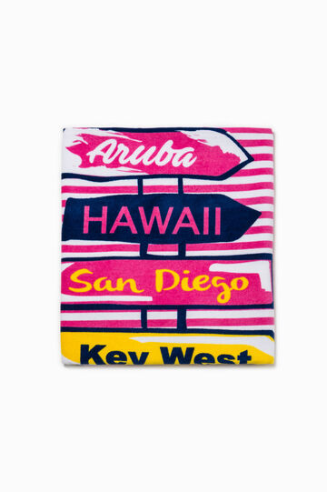 Beach towel with lettering pattern