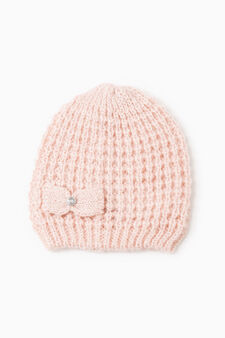 Beanie cap with bow, Pink, hi-res