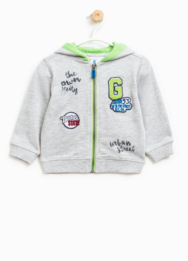 100% cotton sweatshirt with print and patches | OVS
