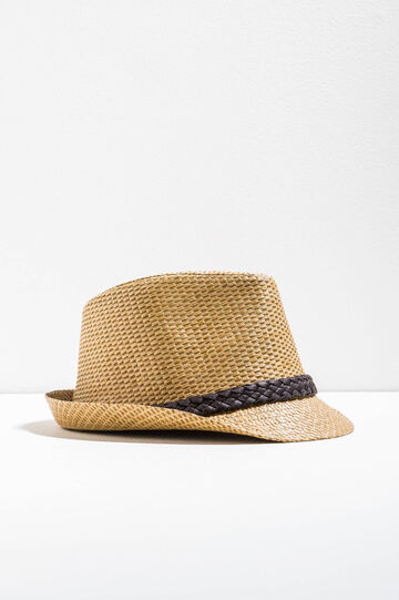 Straw hat with braided band, Natural/Brown, hi-res