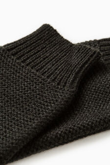 Long fingerless knit gloves, Black, hi-res