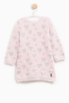 Knitted dress with heart pattern, Pink, hi-res