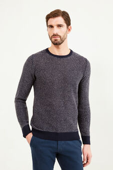 Pullover tricot mélange con toppe, Blu navy, hi-res