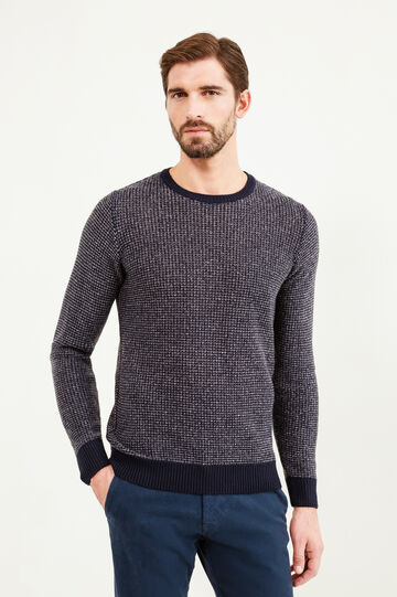 Mélange knitted pullover with elbow patches, Navy Blue, hi-res