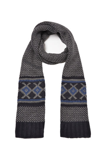 Knitted embroidered scarf, Navy Blue, hi-res
