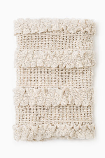 Solid colour knitted neck warmer, Chalk White, hi-res