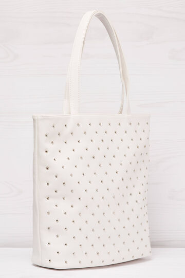 Leather look shopping bag with studs, White, hi-res