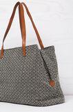 Shoulder bag with zip, Black/White, hi-res