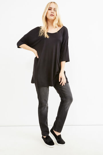 Curvy solid colour 100% viscose T-shirt, Black, hi-res
