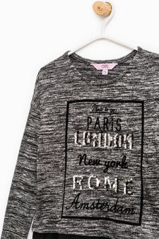 T-shirt with faux layered hem, White/Black, hi-res