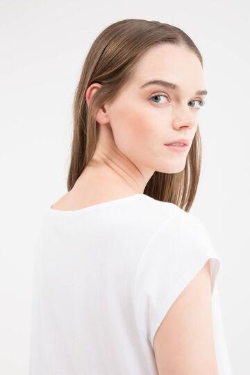 T-shirt cotone con strass e stampa, Bianco, hi-res