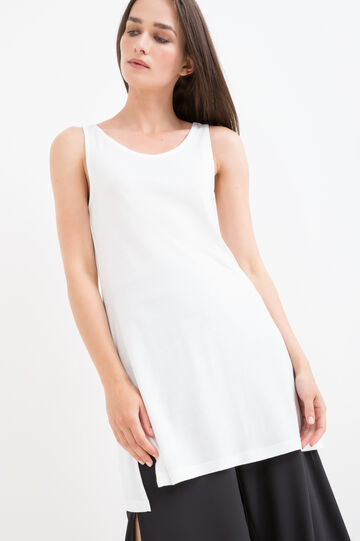 Long viscose top with slits, Milky White, hi-res