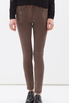 Stretch cotton trousers with zip, Brown, hi-res
