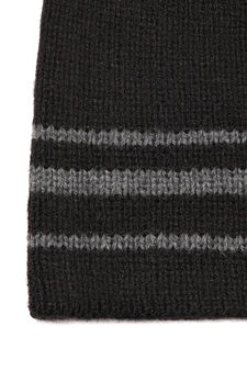 Striped cotton knitted beanie cap, Black, hi-res