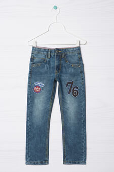 Straight-fit jeans with patches, Denim Blue, hi-res