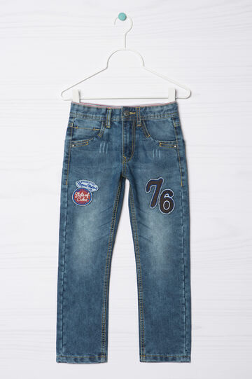Jeans straight fit con patch applicate, Blu denim, hi-res
