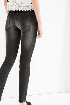 Worn-effect skinny-fit stretch jeans, Black, hi-res
