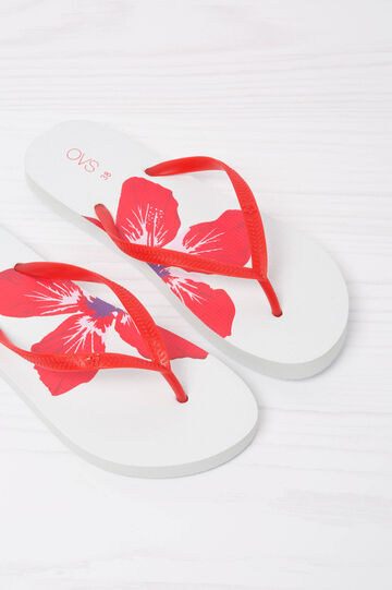 Printed thong sandals., Red, hi-res