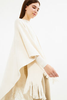 Knitted poncho with solid colour fringing, White, hi-res