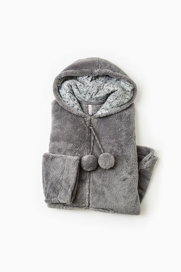 Faux fur dressing gown, Dark Grey, hi-res