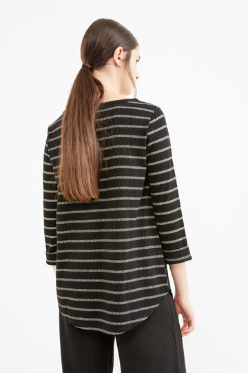 Stretch viscose T-shirt with striped pattern, Black, hi-res