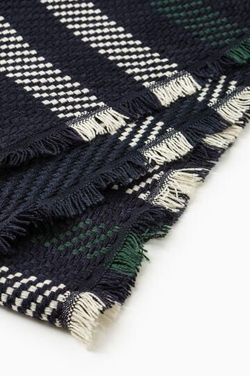 Solid colour knitted scarf with embroidery, Navy Blue, hi-res