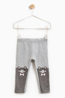 Cotton trousers with glitter print, Grey Marl, hi-res