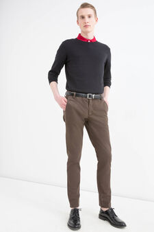 Slim-fit chino trousers in stretch twill, Brown, hi-res