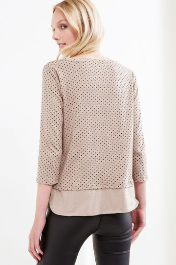 Polka dot T-shirt with faux layering, Beige, hi-res