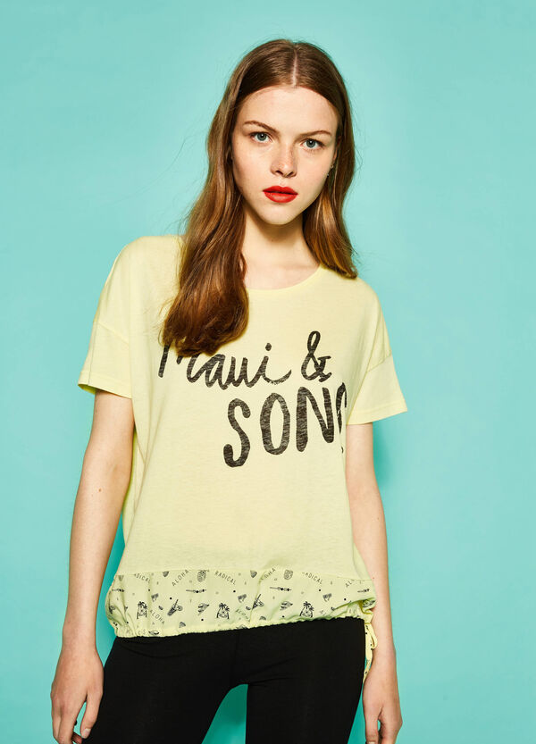 T-shirt with patterned insert by Maui and Sons | OVS