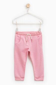 Solid colour cotton gym pants, Pink, hi-res