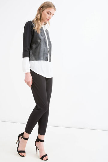 Stretch openwork small jacket, Black, hi-res