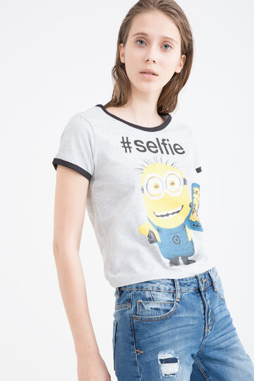 Minions print cotton T-shirt, Grey Marl, hi-res