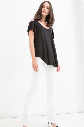 Solid colour 100% viscose T-shirt, Black, hi-res