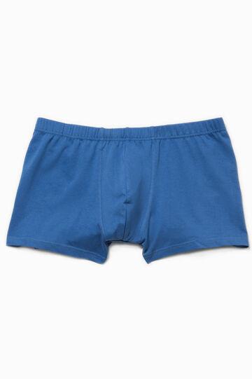 Solid colour 100% cotton boxer shorts, Ocean Blue, hi-res