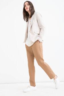 Stretch, solid colour blazer, Beige Brown, hi-res