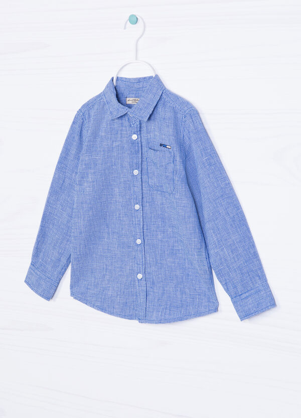 Hounds' tooth linen blend shirt | OVS