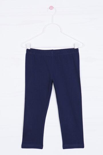 Solid colour stretch cotton leggings, Dark Blue, hi-res