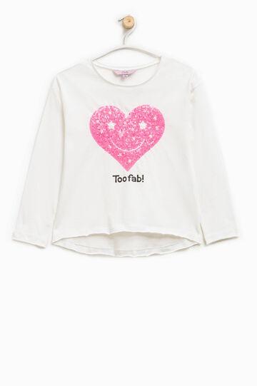 Camiseta sin rematar con estampado, Blanco nata, hi-res