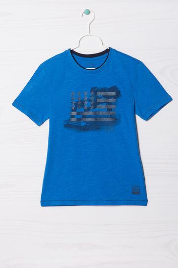 T-shirt puro cotone stampata, Blu elettrico, hi-res