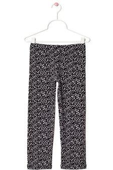 Printed leggings in stretch cotton, White/Black, hi-res