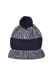 Knitted hat with pompom, Blue, hi-res