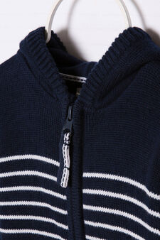 Knitted cotton pullover with zip, Navy Blue, hi-res