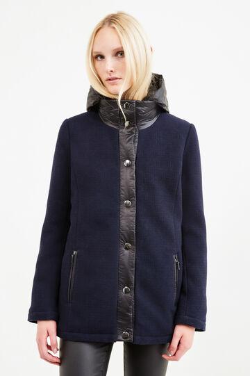 Wool blend coat with hood, Black/Blue, hi-res